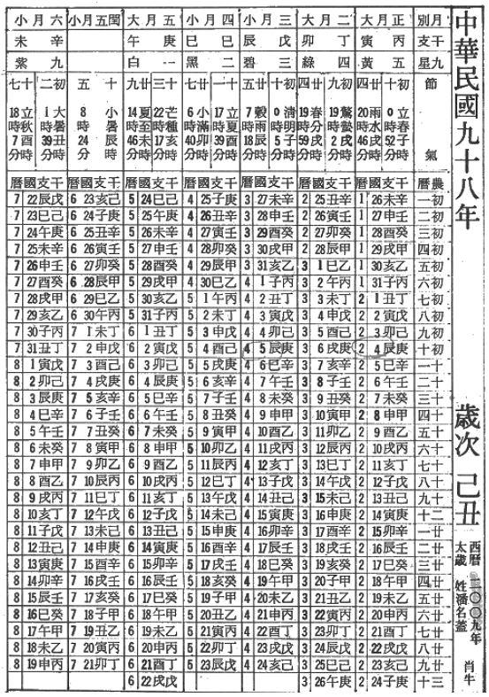 Календарь китайский ся